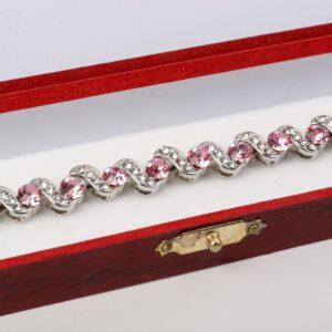 Magnetna zapestnica z roza kamenčki